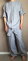 Мужская льняная пижама, одежда для медитации, домашняя льняная одежда для мужчины., фото 1