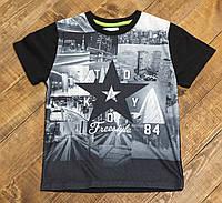 Детская стильная футболка для мальчика черная Токио р.128