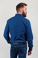 Рубашка в клетку мужская, зимняя №208F014 (Сине-черный)