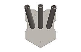 """Держатель для флага тройной """"3 флага"""". Внутренний диаметр трубы 28 мм. ТМ Кольчуга (Kolchuga)"""
