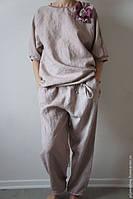 Женская домашняя натуральная льняная одежда, пижама из льна