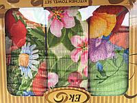 Кухонный набор полотенец с цветочным принтом 1051