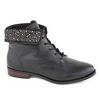 Женские Кожаные Ботинки на Шнуровке Черные