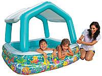 Бассейн детский надувной съемная крыша INTEX 57470. 157*122 см