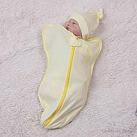 """Евро пеленка """"Bunny"""" для новорожденных на молнии желтая"""