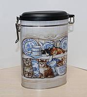 """Банка для хранения чая или кофе """"Котята"""" 400 гр овальная"""