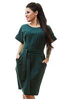 Платье с коротким рукавом зеленое с поясом, большого размера  50,52,54,56