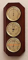 Стильный настенный  барометр с гигрометром и термометром 203176 красное дерево Moller 914615.