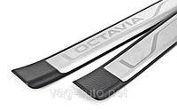 Накладки на пороги хром Octavia A7
