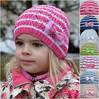 Шапочка  детская вязаная для девочек р-ры 48-52, 53 - 57, производство Украина