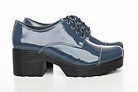 Женские туфли красивого синего цвета, кожа (0010)