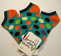 Короткие цветные женские носки бирюзового цвета в цветные горохи