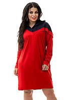 Платье-рубашка красное замшевое большие размеры 48-50, 52-54