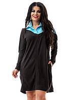 Платье-рубашка черное с голубым замшевое большие размеры 48-50, 52-54
