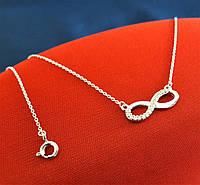 Серебряное родированное колье Бесконечность Ожерелье 925 пробы с Фианитами