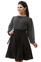 Черное платье в горошек большого размера 50,52,54,56