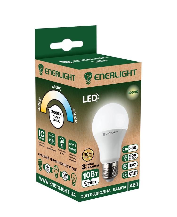 LED лампа Enerlight A60 10Вт 3000K E27