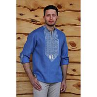 Мужская вышиванка голубого цвета с завязками с универсальным рукавом М21/1-271