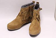 Стильные Замшевые Ботинки с Бахромой Песочные