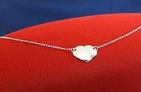 Тонкое Колье ожерелье Сердце серебро 925 пробы