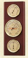 Прямоугольный настенный  барометр с гигрометром и термометром 203804 красное дерево Moller 914717.