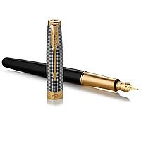 Перьевая ручка Паркер, золотое перо, серебряный корпус