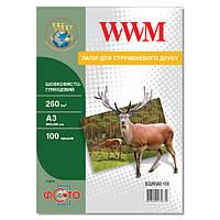 Фотобумага WWM шелковисто - глянцевая 260г/м кв, А3, 100л (SG260A3.100)