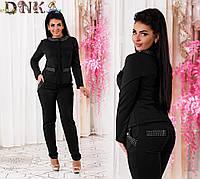 Женский брючный костюм кофта с потайной змейкой брюки сзади с карманами стразы черный