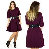 Платье женское короткое из трикотажа свободного кроя под пояс P5882