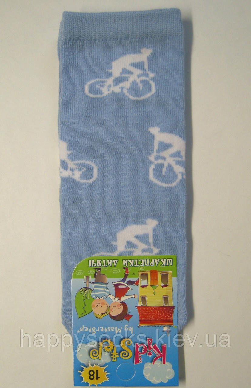 Носки мальчиковые заниженные голубого цвета велосипедист