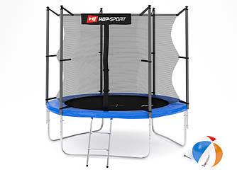 Батут Hop-Sport 8ft (244cm) blue с внутренней сеткой  для дома и спортзала