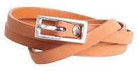 Аккуратный узкий ремень из искусственной кожи W140 рыжий ДхШ: 115х1 см.