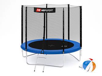 Батут Hop-Sport 8ft (244cm) blue с внешней сеткой  для дома и спортзала