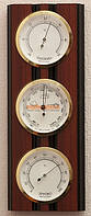 Полосатый вертикальный барометр с гигрометром и термометром  203975 красное дерево Moller 914604.