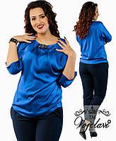 Женская блуза из шелка + украшение 48-54р.