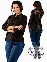 Рубашка женская с кружевом и змейкой на спине (баталы) разные цвета.