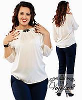 Женская блуза из шелка + украшение р 52 КРАСНЫЙ