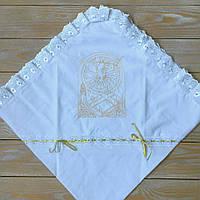 Крыжма на крестины с красивой вышивкой
