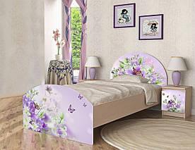 """Ліжко односпальне з фотодруком """"Природа"""" (90х190 см) ТМ Вальтер-С Венге світлий K2-1.09.38"""