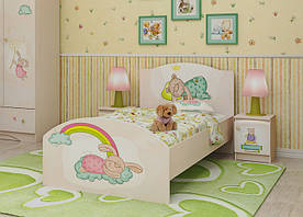 """Односпальне дитяче ліжко з фотодруком """"Зайчики"""" (90х190 см) ТМ Вальтер-С Венге K1-1.09.36"""