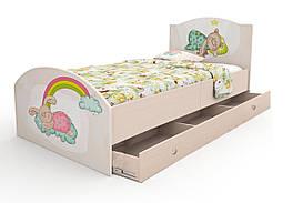 """Підліткове ліжко з фотодруком """"Зайчики"""" з ящиком ДСП (90х190 см) ТМ Вальтер-С Венге K1Y-1.09.36"""