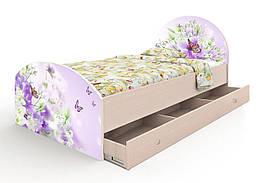 """Односпальне ліжко """"Природа"""" з ящиком (90х190 см) ТМ Вальтер-С Венге світлий K2Y-1.09.38"""