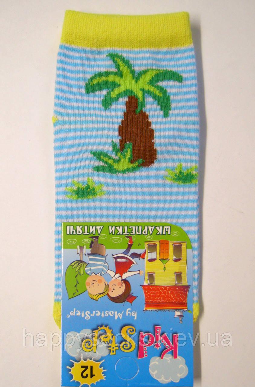 Носки на малышей в голубую полоску с пальмой