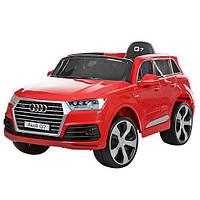 Детский электромобиль джип Audi Q7 JJ2188EBLR-3, колеса EVA, кож сидение,двери откр, красный
