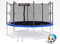 Батут Hop-Sport 12ft (366cm) blue с внутренней сеткой  для дома и спортзала, Львов