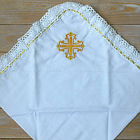 Крыжма на крестины с крестиком на домотканном полотне