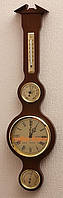 Эффектный деревянный барометр с гигрометром, термометром и часами 204981 грецкий орех Moller 914607.