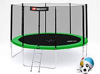 Батут Hop-Sport 12ft (366cm) grenn с внутренней сеткой  для дома и спортзала, Львов