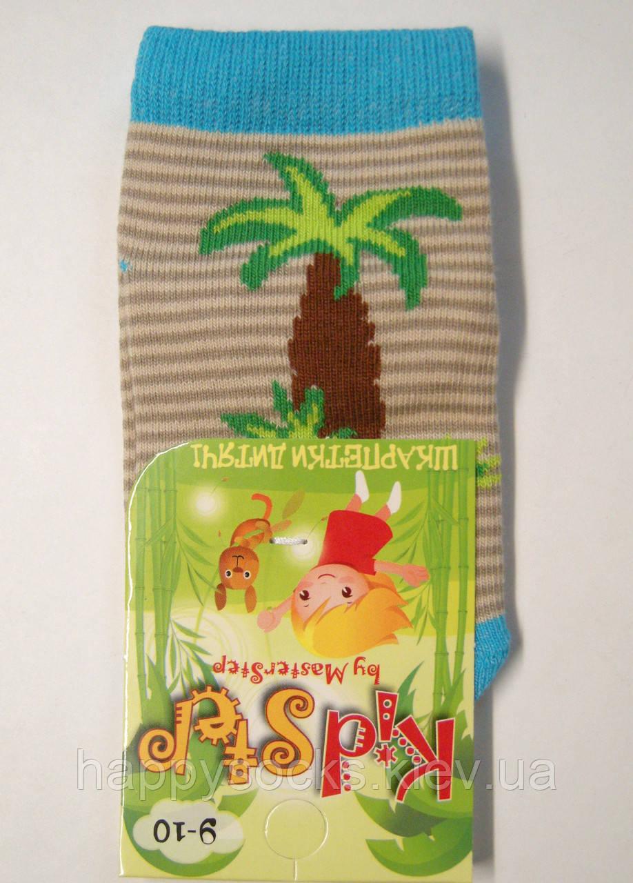 Носки для маленьких в бежевую полоску с пальмой
