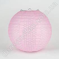 Подвесной фонарик ажурный, светло-розовый, 25 см